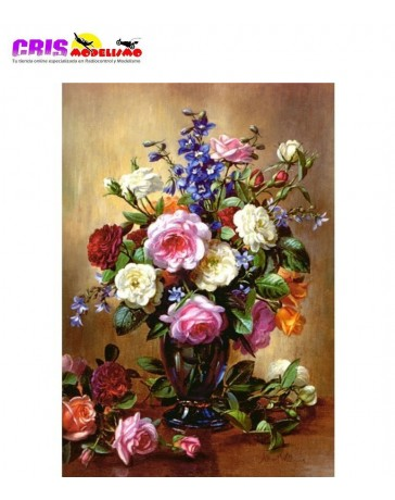 Puzzle Rosas en Jarrón Azul de 1000 piezas