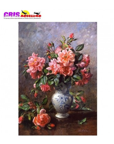 Puzzle Still Life Roses in China Vase de 1000 piezas