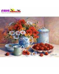 Puzzle Bodegon de Flores y Cerezas de 1500 piezas