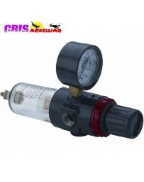 Filtro regulador con manómetro para compresor.