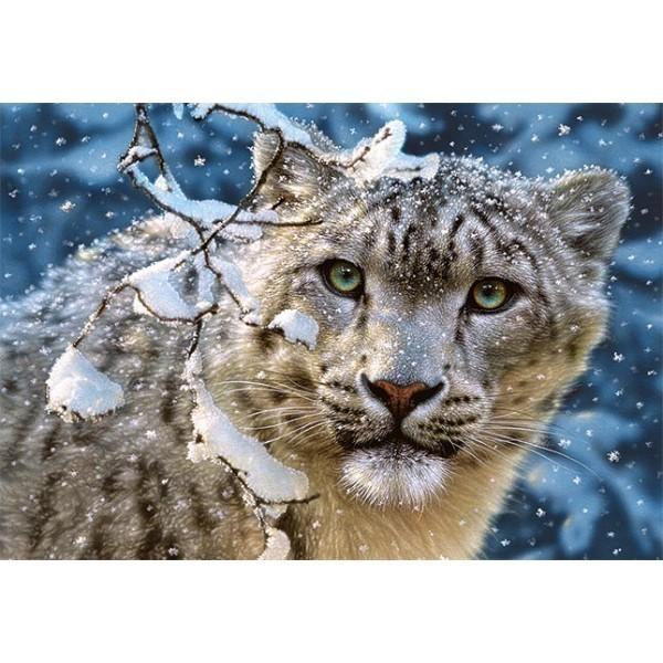 Puzzle Leopardo en la Nieve de 1500 piezas
