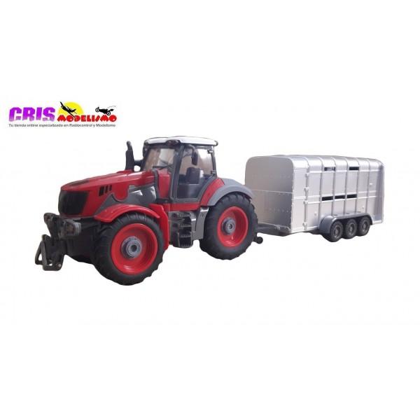 Juguete Heavy Duty Tractor Con Remolque 1/28